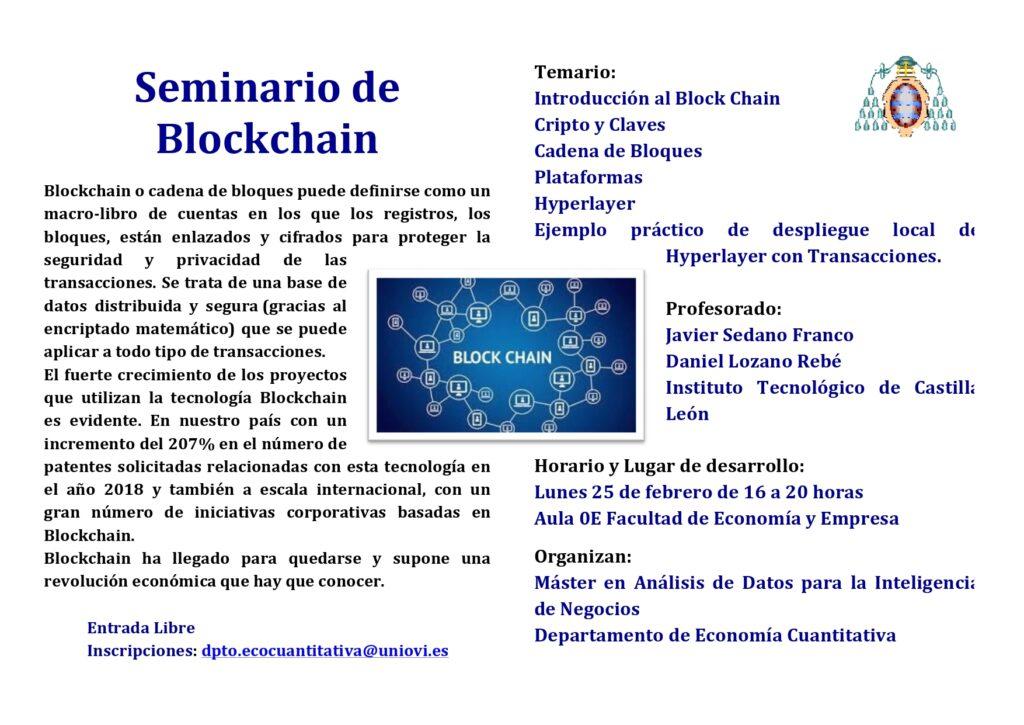 Javier Sedano y Daniel Lozano participan en un Seminario de Blockchain en la Universidad de Oviedo